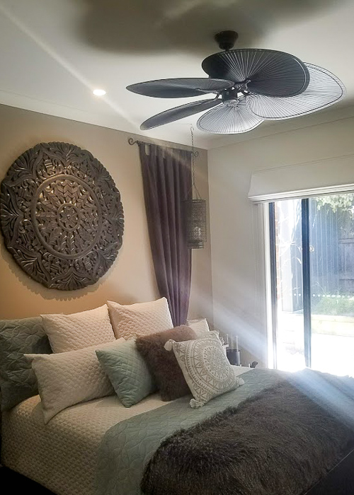 bedroom- ceiling fan installed by Melba Electrical Services