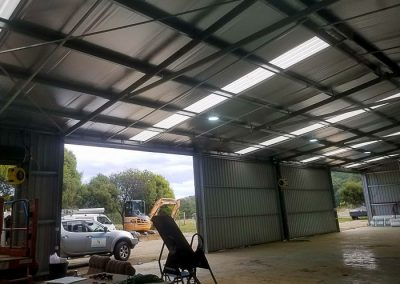 Commercial shed- new lights & power installed by Melba Electrical Services