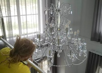 Daniel- Dressing a chandelier installed by Melba Electrical Services