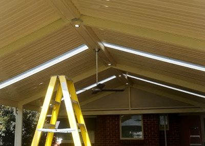 Pergola- down lights and ceiling fan installed by Melba Electrical Services